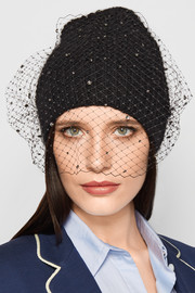 Crystal Voilette embellished angora and merino wool-blend beanie