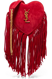 Love small fringed suede shoulder bag