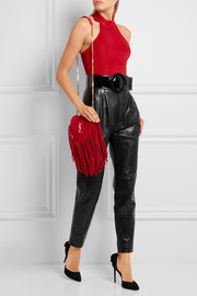 Saint Laurent Love small fringed suede shoulder bag