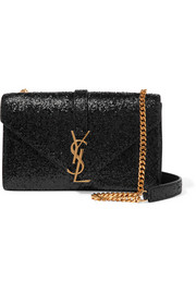 Monogramme small glittered leather shoulder bag