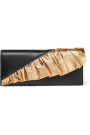 Metallic-trimmed leather clutch