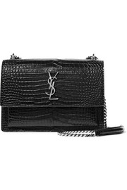 Saint Laurent Sunset medium croc-effect leather shoulder bag
