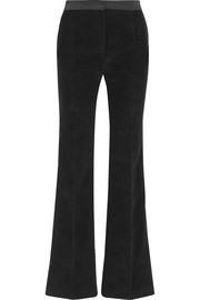 Satin-trimmed corduroy straight-leg pants