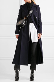 Double-breasted pleated wool coat