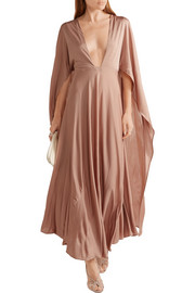 Valentino Cape-effect silk-jersey maxi dress