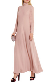 Valentino Silk-georgette turtleneck maxi dress