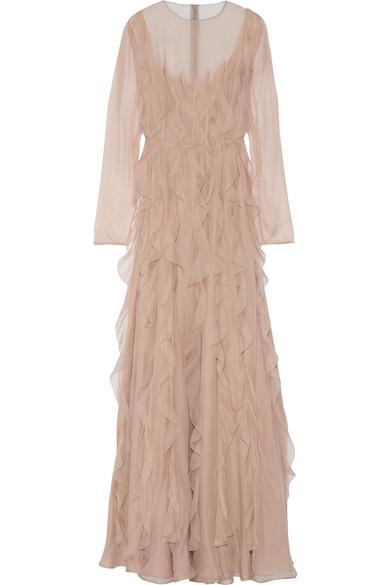 Valentino - Ruffled Silk-chiffon Gown - Blush