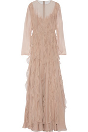 Ruffled silk-chiffon gown
