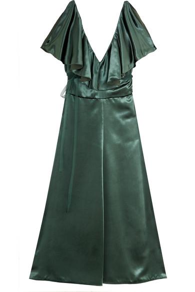 Valentino - Ruffled Velvet Dress - Emerald