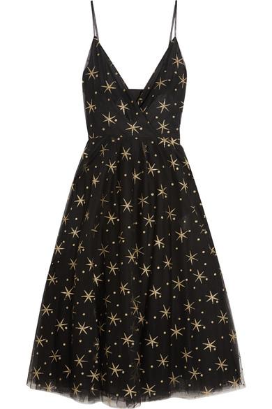 Valentino - Glittered Embroidered Tulle Midi Dress - Black