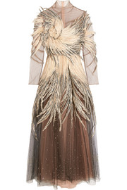 Valentino Feather-embellished tulle gown