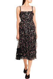 Valentino Ruffled glittered silk-georgette midi dress
