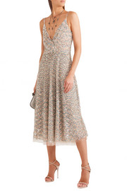 Valentino Sequined tulle midi dress