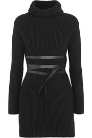 Belted ribbed wool and cashmere-blend turtleneck mini dress