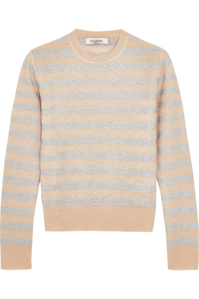 Valentino - Metallic Striped Knitted Sweater - Beige
