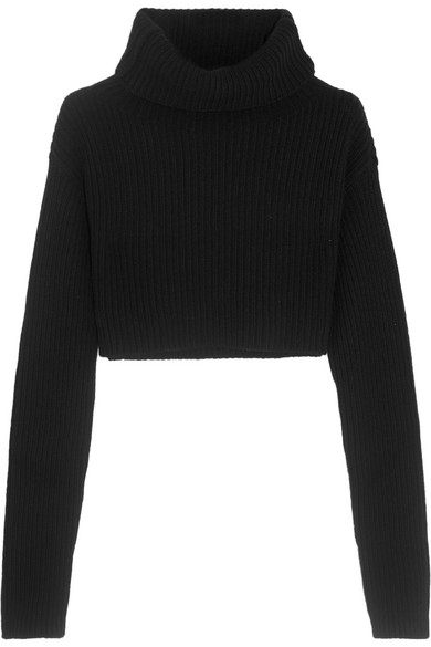 Valentino - Cropped Wool And Cashmere-blend Turtleneck Sweater - Black