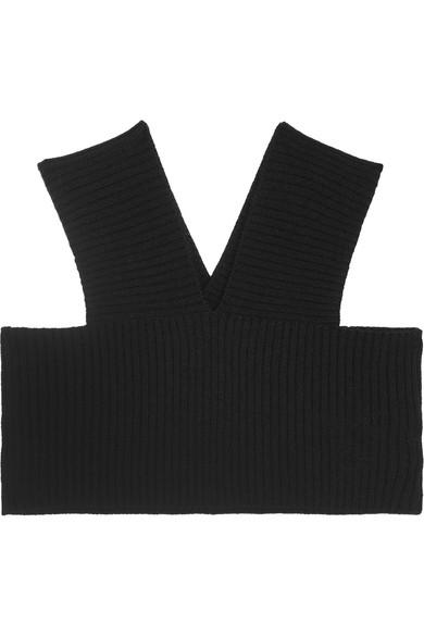 Valentino - Cropped Ribbed Wool Tank - Black