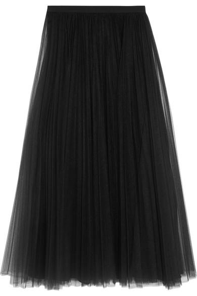 Valentino - Pleated Tulle Midi Skirt - Black