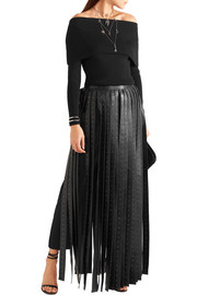 Valentino Crystal-embellished leather maxi skirt