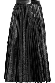Pleated cracked-leather wrap skirt