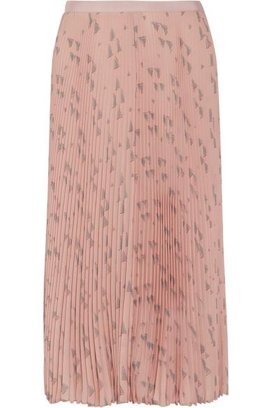 Valentino - Pleated Printed Silk Crepe De Chine Midi Skirt - Blush