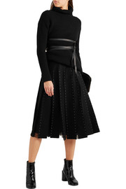 Valentino Tulle-paneled embellished wool-felt skirt