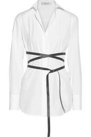 Valentino Belted cotton-poplin shirt