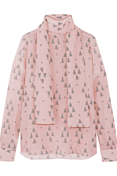 Valentino - Printed Silk Crepe De Chine Blouse - Pastel pink