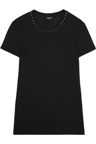 Valentino - Embellished Cotton-jersey T-shirt - Black