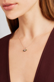 Ileana Makri Oval Kitten Eye 18-karat rose gold, sapphire and tsavorite necklace