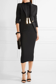 Balmain Embellished ribbed wool sweater dress