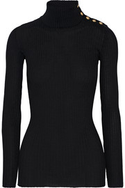 Balmain Embellished ribbed wool turtleneck sweater