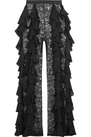 Balmain Silk-ruffled lace wide-leg pants