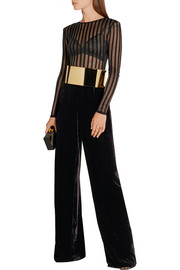 Balmain Striped stretch-knit bodysuit