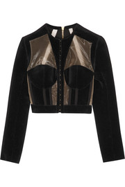 Cropped paneled velvet and mesh jacket