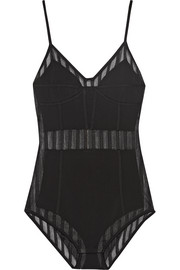 Balmain Striped tulle-paneled stretch-jersey bodysuit