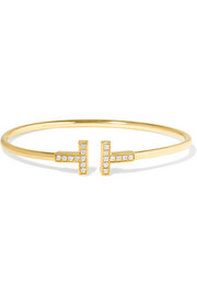 T Wire 18-karat gold diamond bracelet