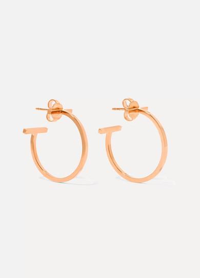 Tiffany & Co - T Wire 18-karat Rose Gold Hoop Earrings
