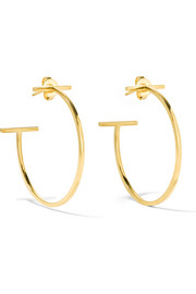 T Wire 18-karat gold hoop earrings