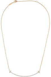 Tiffany & Co T Smile 18-karat rose gold diamond necklace