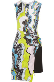 Versace Asymmetric printed crepe mini dress