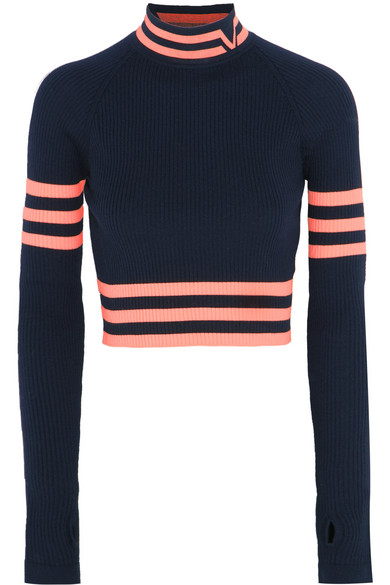 Versace - Cropped Striped Stretch-wool Sweater - Navy
