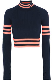 Versace Cropped striped stretch-wool sweater