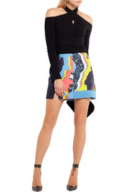 Versace Printed paneled satin and silk-jacquard mini skirt