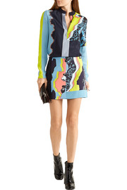 Versace Embroidered printed  silk crepe de chine and georgette top