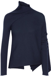 Asymmetric ribbed wool sweater