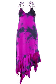 Tie-dyed asymmetric silk-satin dress