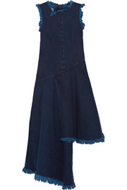 Asymmetric frayed denim midi dress