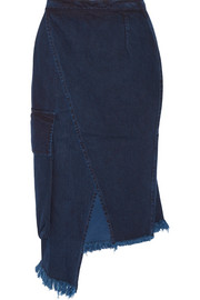 Asymmetric frayed wrap-effect denim skirt