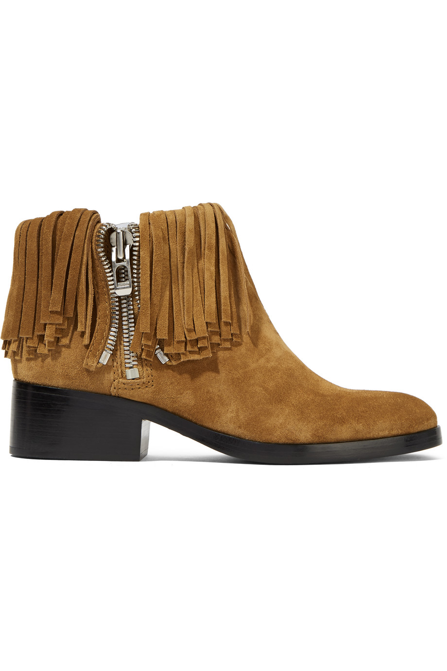 3.1 Phillip Lim Alexa Fringed Suede Ankle Boots, Tan, Women's US Size: 7.5, Size: 38